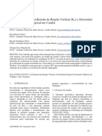 Determinação Do Coeficiente de Reação Vertical Kv e Horizontal Kh de Um Solo Tropical Em Cuiabá
