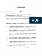 Modelo Da Prova de Português Disponibilizado No Site Da UL