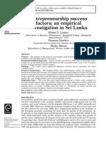 Entrepreneurship Success Factors an Empirical Investigation in Sri Lanka