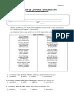 Evaluacion DiagnosticoLenguaje Cuarto Básico