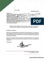 Carta dirigida al ministro del Interior, Guillermo Rivera
