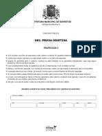3 PROVA Vunesp 2018 Prefeitura de Barretos Sp Professor i Prova