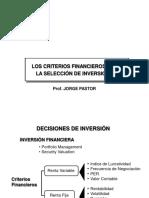 Criterio financieros  para seleccion de inversiones