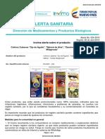 Alerta No. 024-2018 - Colirios Cubanos Ojo de Águila Natural de Aloe Zanahoria y Sábila Gotas Milagrosas