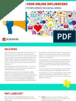 FOD Economie - Guidelines Voor Online Influencers