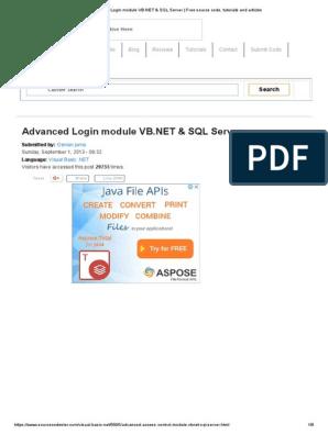 Advanced Login Module VB net & SQL Server _ Free Source Code