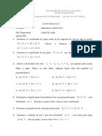 Lista de Exercicios 1 matematica