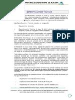 Especificaciones Tecnicas Rio Pampamarca Kil