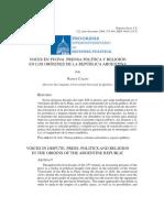 Calvo - Prensa Política y Religión en Los Orígenes de La República Argentina