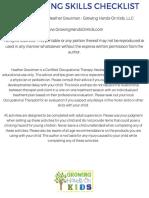 PreWriting Skills Checklist FINAL