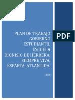 Plan de Trabajo Del Gobierno Estudiantil 2016