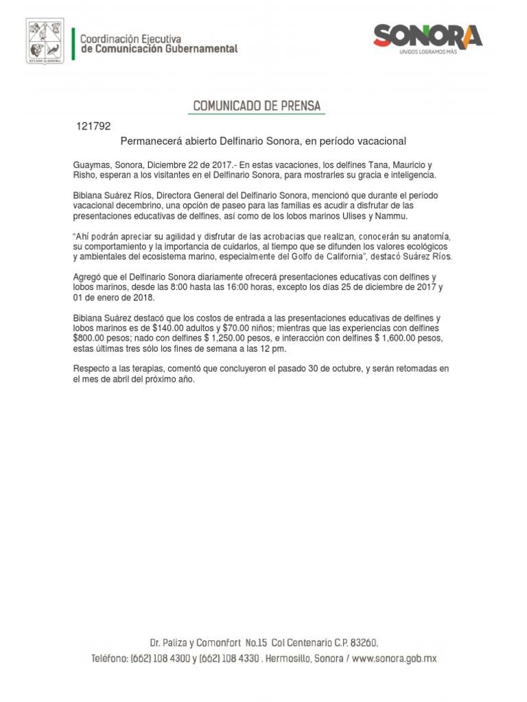 22/12/17 Permanecerá abierto Delfinario Sonora, en período ...