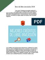 Mejores Créditos de Libre Inversión 2018