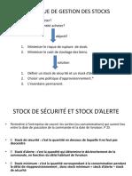 Diférentes Définitions Stock