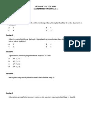 Latihan Matematik Tingkatan 1 Kssm