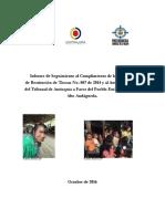 Informe de seguimiento de cumplimiento a sentencia de Alto Andágueda - 19-10-2016