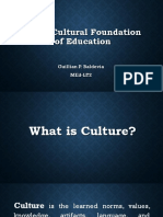 Socio-Cultural Foundation of Education - Report Feb 17, 2018