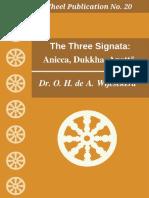 Wh020 Wijesekera Three Signata Anicca Dukkha Anatta