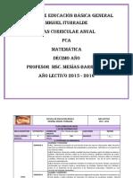 Plan Curricular Anual Décimo Matemática