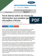 Ford Alerta Sobre Os Riscos de Distrações