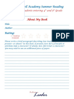 summer reading 4th-5th worksheets