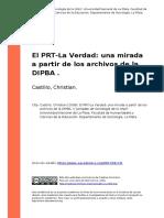 Castillo, Christian (2008). El PRT-La Verdad Una Mirada a Partir de Los Archivos de La DIPBA