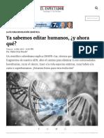 Ya Sabemos Editar Humanos, ¿y Ahora Qué ELESPECTADOR.com