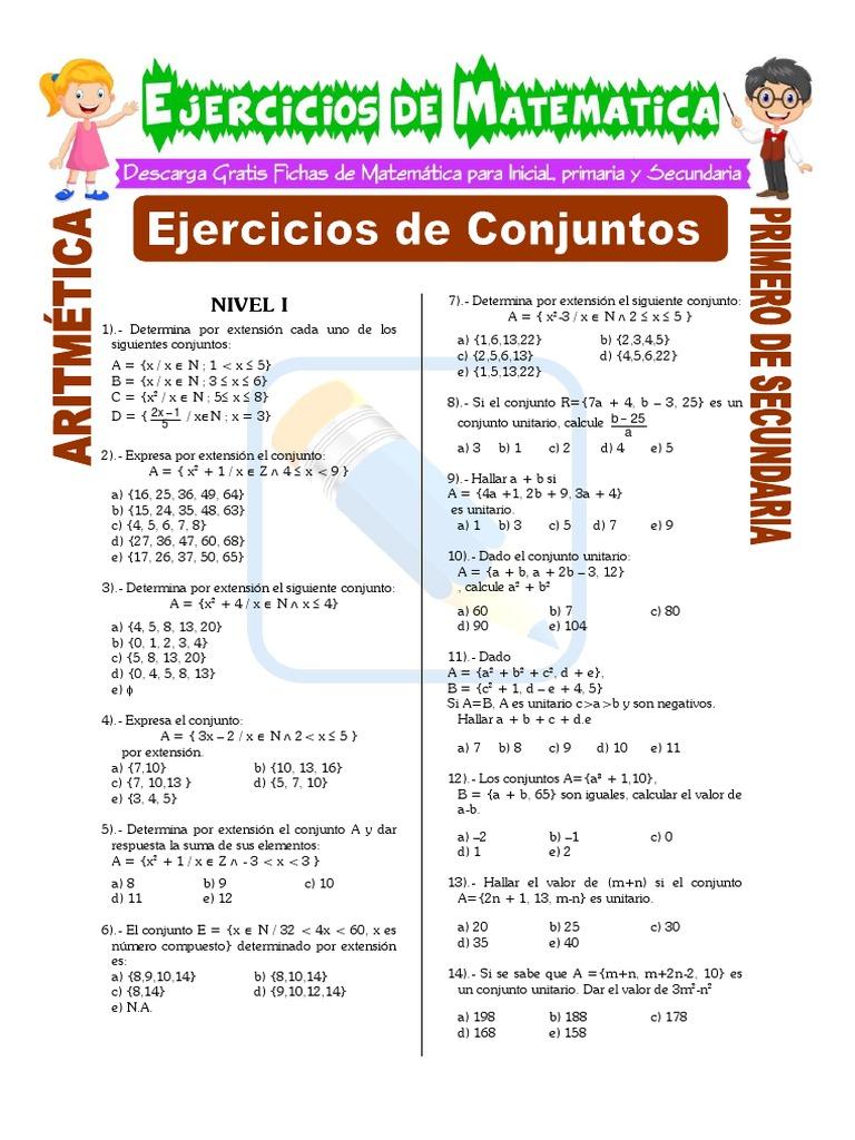 Ejercicios De Conjuntos Para Segundo De Secundaria Lengua Española Enseñanza De Matemática