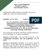 RA 9225 Dual Citizenship