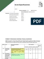 Tabla de Especificaciones Física III