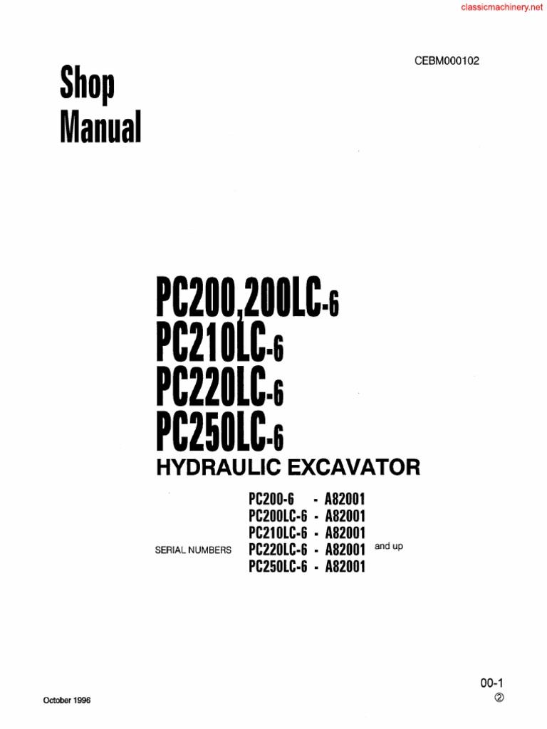 KOMATSU PC200.LC6 PC210.LC6 PC220.LC6 PC250.LC6 SHOP