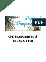 CUTI THAIPUSAM 2018