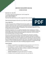 Course Outline Marketing Management