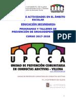 Upcca Dossier de Actividades en El Ámbito Escolar ESO 17 18 Villena
