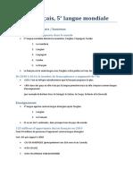 Le français, 5e  langue mondiale