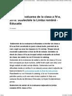 Subiecte Evaluarea de la clasa a IV-a, 2018_ Subiectele la Limba română - Educatie