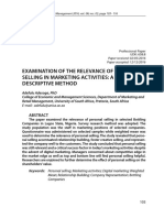 Examination of the Relevance of Personal Selling in Marketing Activities a Descriptive Method