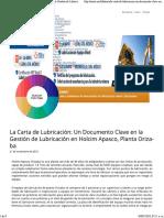 La Carta de Lubricación- Un Documento Clave en La Gestión de Lubricación en Holcim Apasco, Planta Orizaba - Noria Latín América