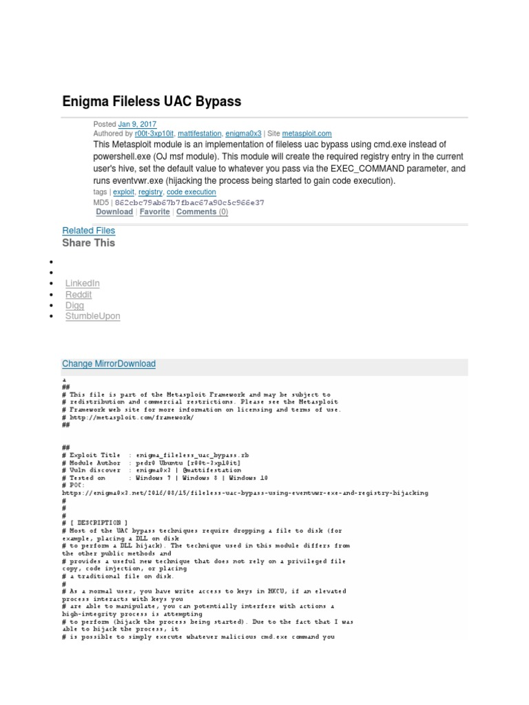 Enigma Fileless UAC Bypass: Share This