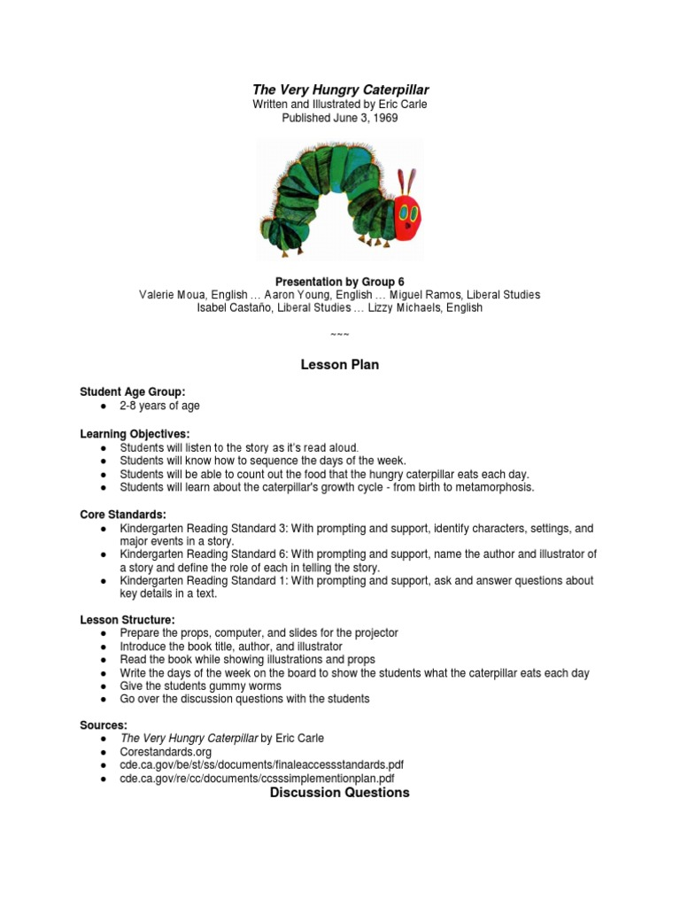 The Very Hungry Caterpillar: Lesson Plan