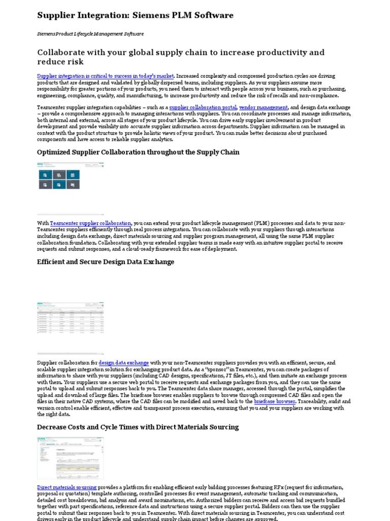 Supplier Integration_ Siemens PLM Software | Product
