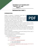 Defamation Notes I