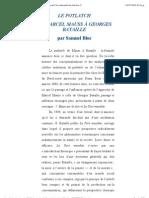 LE POTLATCH  DE MARCEL MAUSS À GEORGES BATAILLE