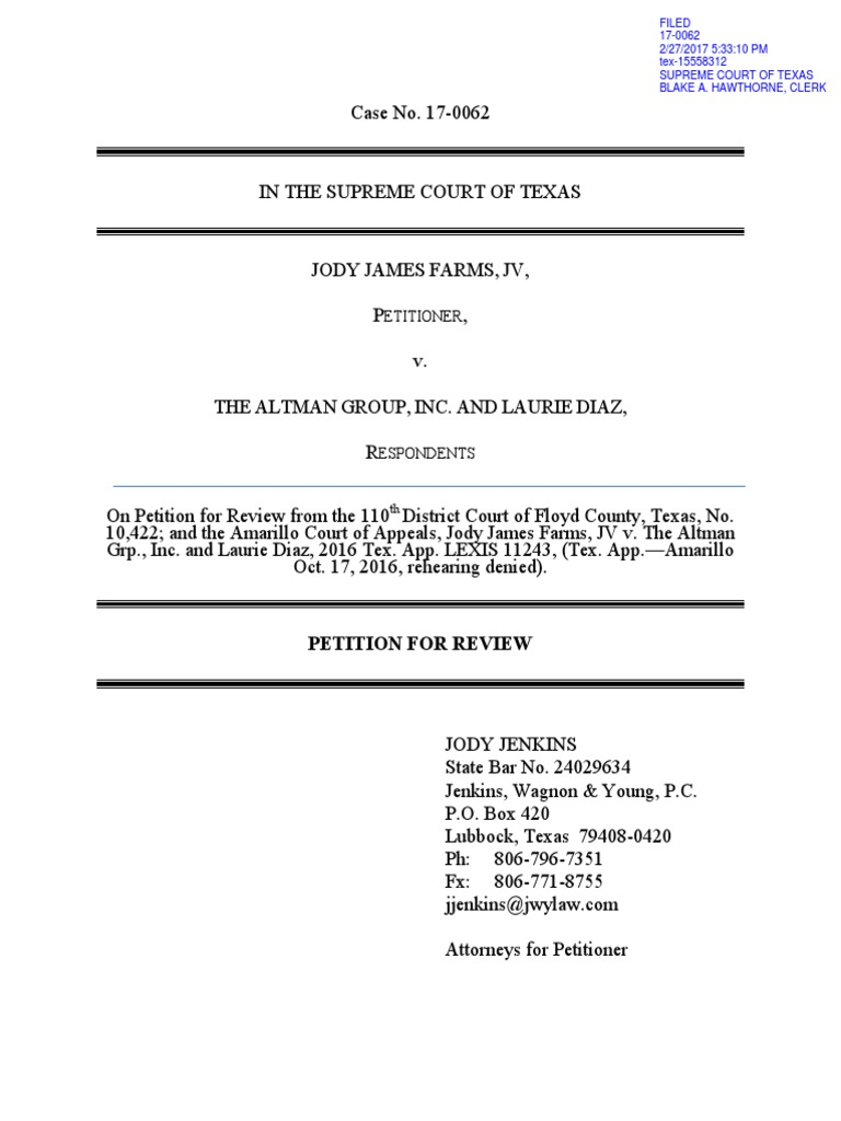 Jody James Farms v Altman Group - Petition for Review   Arbitration