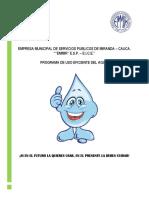 Plan de uso eficiente y ahorro de agua miranda cauca
