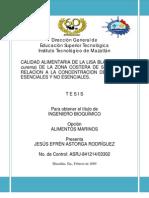 calidad alimentaria de la lisa blanca Mugil curema en relacion a la concentracion de metales escenciales y no escenciales de la zona costera de Sinaloa
