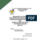 PREVALENCIA DE LESIONES PRECURSORAS DE CÁNCER DEL CUELLO UTERINO EN MUJERES DE 25 A 50 AÑOS