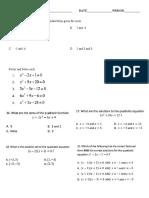 Quadratics Unit 3 Review