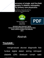 Jurnal reading The diagnostic accuracy of single and five field fundus photography in diabetic retinopathy screening by primary care physicians