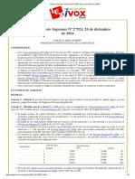 Bolivia_ Decreto Supremo Nº 27924, 20 de Diciembre de 2004